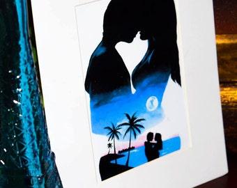 Couple silhouette love print kiss beach art