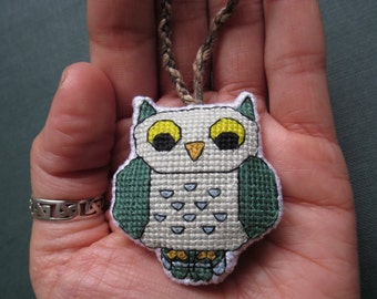 Whimsical Fantasy Owl Charm, (Forest Green Wings, Sky Blue Spots) by DaraCreek