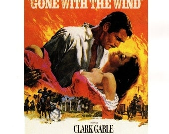 """50% Off Estate Sale Vintage Gone with the Wind Movie Poster, PM011,1939 Clark Gable, Vivien Leigh,  11"""" x 14""""  Print"""