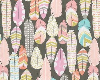 Pastel Feathers Fabric - By The Yard - Girl / Tribal / Modern