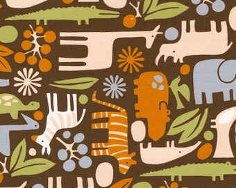 Brown Modern Zoo Fabric - By The Yard - Boy / Fabric