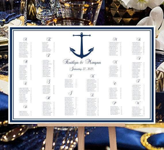Navy Blue Seating Chart Nautical Anchor Reception