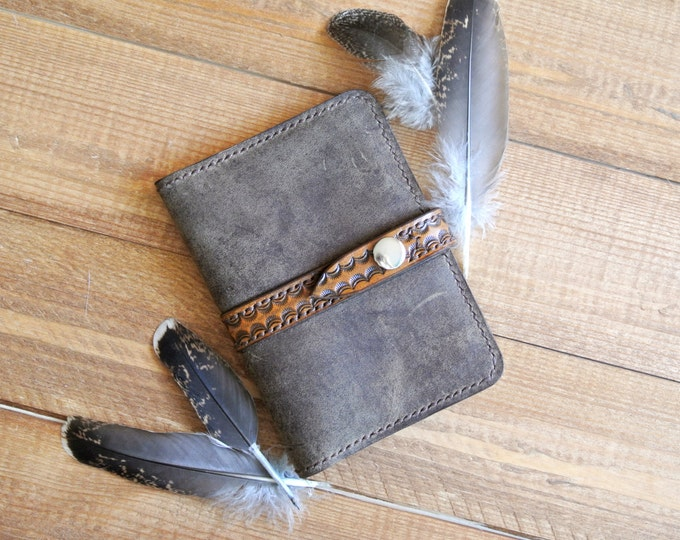 Leather boho passport cover