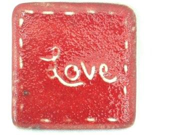 Red love brooch - handmade ceramic