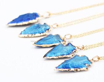 Raw Jasper Arrowhead Necklaces -- Wholesale Charms jewelry supplies wholesale Gemstone bridesmaid necklace CQA-021,YHA