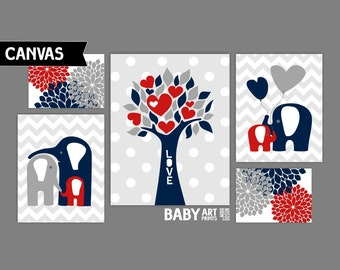 Red, Navy and Grey Nursery canvas art prints, Set of 5, Elephant, Tree, Hearts ( MIX10103 )