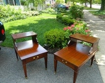 Set of 2 Mid Century Mersman Formica and Solid Wood End Tables and Coffee Table