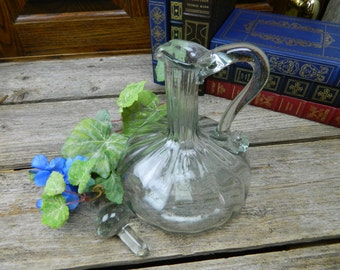 Vintage Hand Blown Clear Glass Decanter