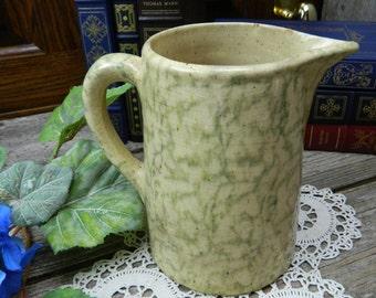 Primitive Antique Light Green and Yellow Ware Pottery Spongeware Spatterware Pitcher
