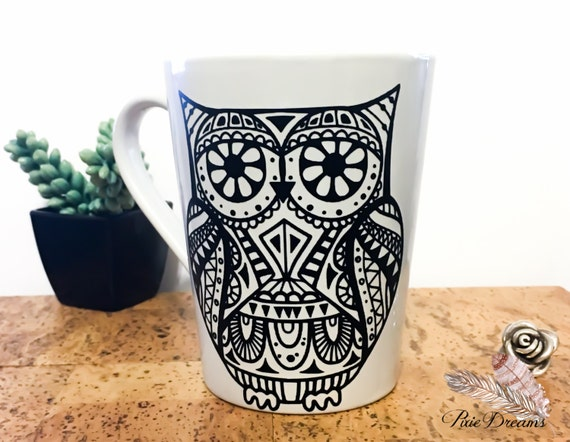 Mandala Owl Coffee Mug - 14oz Ceramic Mug - Boho Style - Coffee Lover Gift - Cute Coffee Mug -  Owl Decor - Hippie Style - Coffee Mug