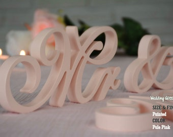 MR & MRS Pale Pink, Unpainted Mr and Mrs Wedding sign, Mr and Mrs Wedding Photo Prop, Mr and Mrs Wedding Table Decoration