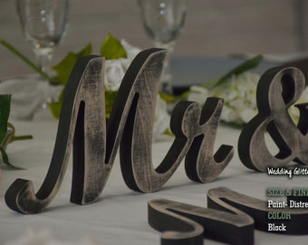 Mr & Mrs, Mr and Mrs Signs, Wood Wedding Decoration, Navy Blue Wedding Decor, Mr and Mrs Wedding Signs