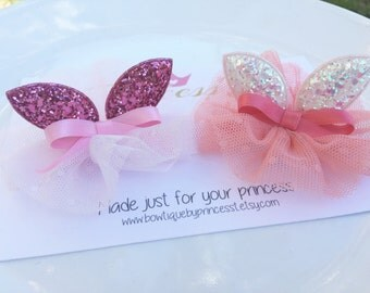 Baby Headband, Glitter Pink/white Bunny Ear Headband, Baby  Bunny Ear Headband, Easter Bunny Headband, Baby Easter Headband