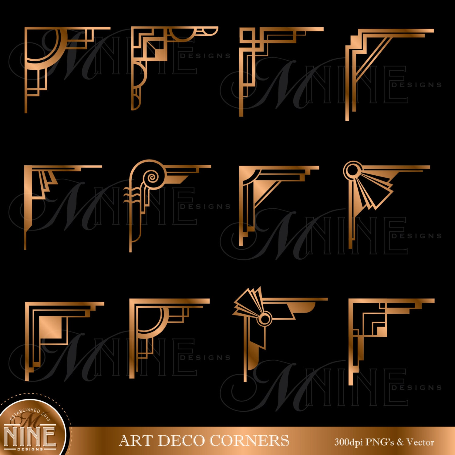 Bronze art deco corners clipart digital clip art instant for Deco 5 elements