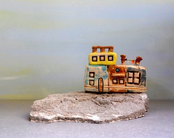 Architectural building  , Urban , Sculpture , Ceramics , Architect gift , Concrete and clay miniature home , Hand made pottery , TLV