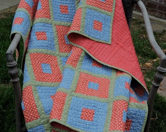 Heather Red, Heather Blue and Green Geometric Cottage Throw/Lap Quilt
