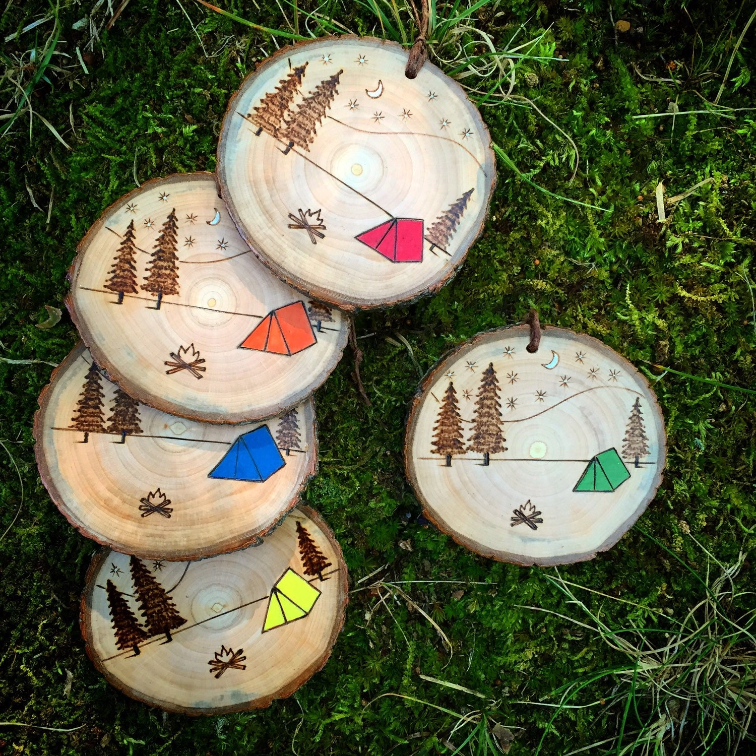 Camping christmas tree ornaments - Wood Burned Camping Scene Ornament Rustic Wooden Pine Campfire Tent Trees Mountains