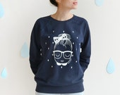 "SALE -40% OFF Women Sweatshirt navy blue  ""Drops"" Screen printed"