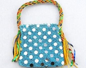 Blue Sequin Beach Bag