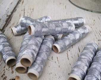 Vintage Metallic Silver Thread