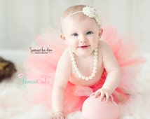 Peach and Cream Smash Outfit Girl, Tutu and Headband Set, girls first birthday outfit, cake smash props, outfit girl