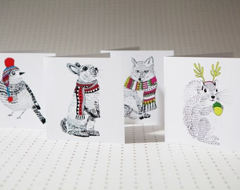 Pack of 8 Woodland-themed Christmas Cards