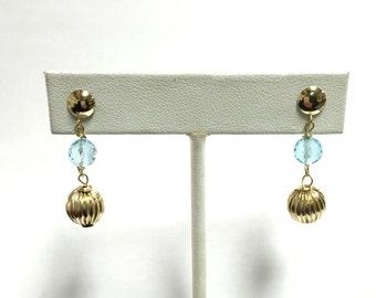 Stunning Vintage Blue Topaz Dangle Earrings - 14k