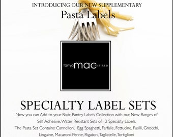 12 Set of Pasta Pantry Label Collection - Vintage