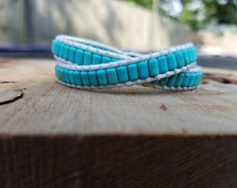 Chan luu Style Wrap Bracelet On White Leather With Turquoise Beads