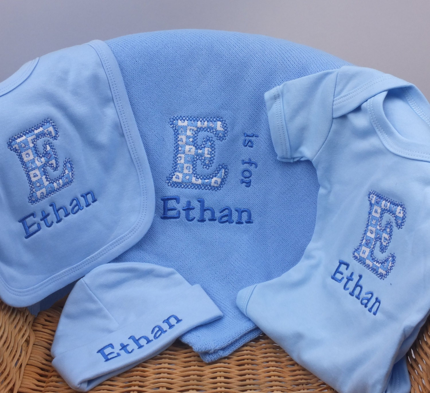 Personalised embroidered baby boy gift set