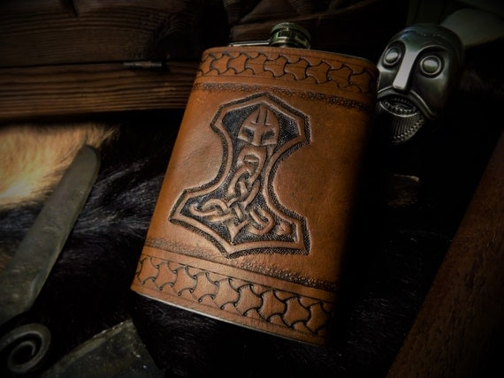 Viking Leather Flask - Mjolnir Thor's Hammer Design - 8 oz Flask
