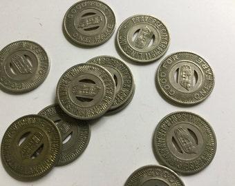 Vintage silver metal traverse city Michigan transit lines Inc. Coin bus fare  memorabilia