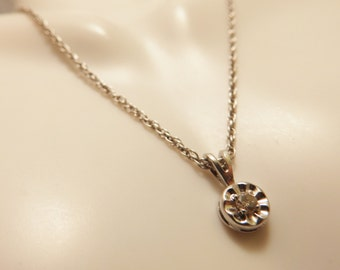 Sterling Silver Single Solitaire Diamond Pendant