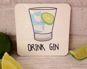 Drink gin coaster gift. Gin and tonic. G&T. Mum gift. Gin gift. Gin tonic gift