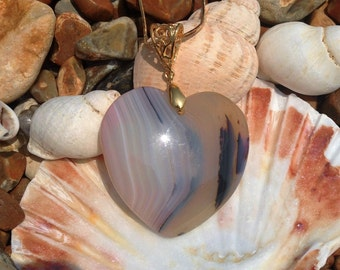 """Heart shaped Agate Necklace, natural agate heart pendant with gold filigree bail, 18ct gold filled 30"""" chain, boho, one of a kind, handmade"""