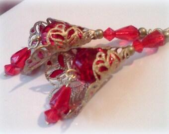 Handmade, Hand Painted Earrings, Vintage Style Earrings, Plique a Jour Earrings, Red Earrings, Filigree Dangle Earrings, Victorian Earrings