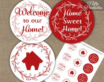Housewarming Cupcake Toppers - Printable House Warming Party Toppers - Red White Housewarming Decor Favors - Red Housewarming Decorations