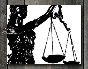 Law Print - INSTANT DOWNLOAD Lady Justice Lawyer Art - Law Office Scales Law Poster - Attorney Print Law Decor - Paralegal Lawyer Gifts