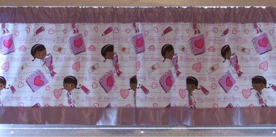 Doc McStuffin satin edge curtains/cotton valance/choice satin edge color