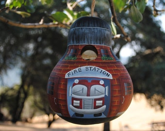 Fire Station Gourd Birdhouse