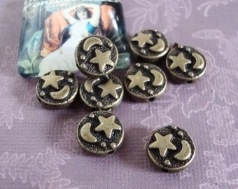 Celestial Beads, Moon Star Beads, 20 pcs