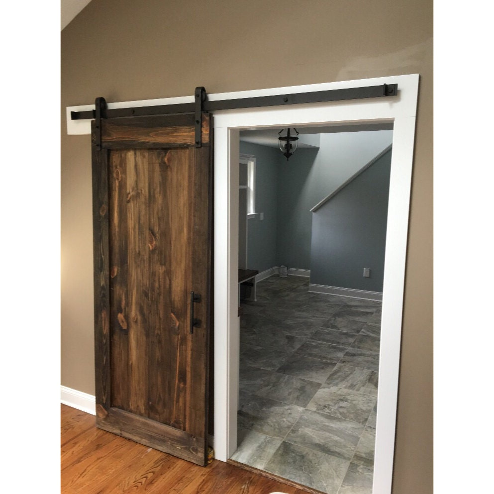 Single panel rustic sliding barn door by rustic luxe for Single sliding barn door