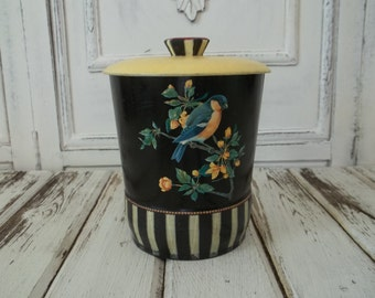Vintage Tin Toleware Birds Upcycled Decoupage