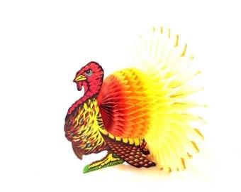 Vintage 1960s Paper Turkey/1960s/Paper Decoration/Thanksgiving Decoration/Centerpiece