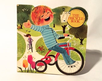 Vintage 1960s Golden Shape Book 'The Tricycle Book' Adorable MCM Graphics/Illustration--Great Clip Art