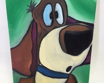 Original oil painting of Cartoon hound dog