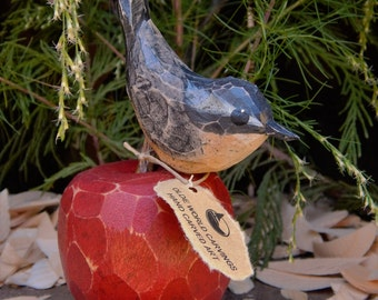 Hand Carved Bird (Nuthatch) Perched on a Carved Maple Wood Apple