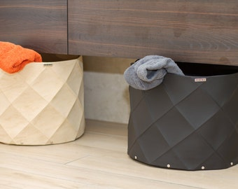 Basket for toys eco leather recycled origami folding