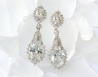 Bridal Jewelry, Bridal Earrings, Bridesmaid Earrings, Wedding Jewelry, Swarovski Earrings, Cubic Zirconia Tear Drop Earrings E265