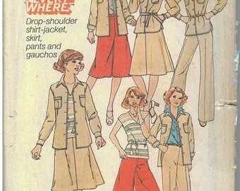 1970's Vintage Sewing Pattern - Skirt Pattern, Pants Pattern, Gaucho Pant Pattern, Shirt Pattern, Jacket Pattern McCalls Patterns # 8105 HV